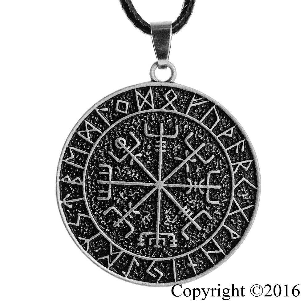 Langhong 1 unids nórdicos vikingos collar amuleto colgante nórdico vegvisir runa
