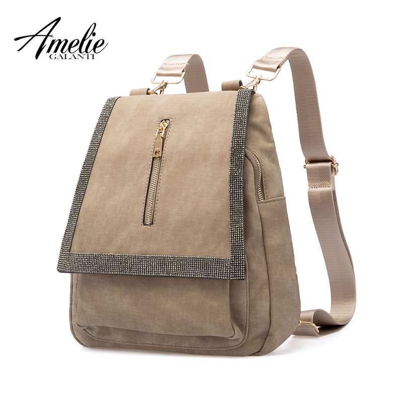 AMELIE GALANTI Fashion Women Backpack Teenager School Bag with Diamond Medium Flap Shoulder Bag Top handle Bag Softback Backpack amelie galanti ms backpack fashion convenient large capacity now the most popular style can be shoulder to shoulder many colors