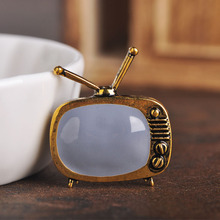 hot deal buy blucome classic vintage tv television shape brooch gold color enamel brooches parents gift scarf sweater collar pins accessories