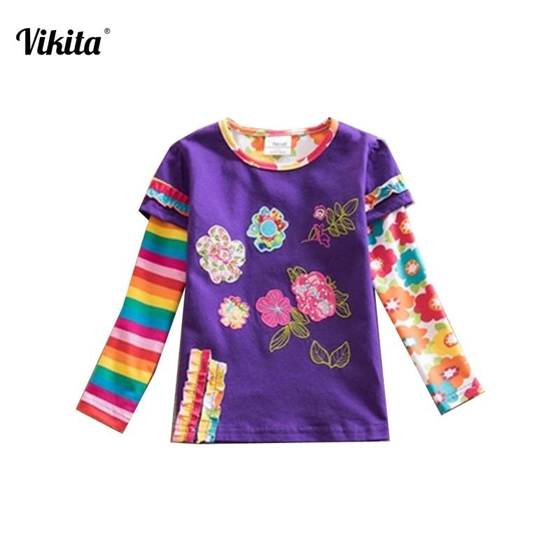 Retail Children t Shirts Kids Flower t-shirt Child Girls Long Sleeve T Shirt Child Clothing Neat Kids Shirts L220 Mix ...