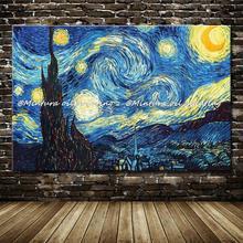 Абстрактная картина маслом Ван Гога репродукции звездное небо картина ручная роспись на холсте без рамы большой размер
