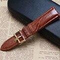Lziard Grano Correa Marrón Con ORO Despliegue pin broche de acero inoxidable de 20mm reloj correa de la venda pulseras de lujo para hombre