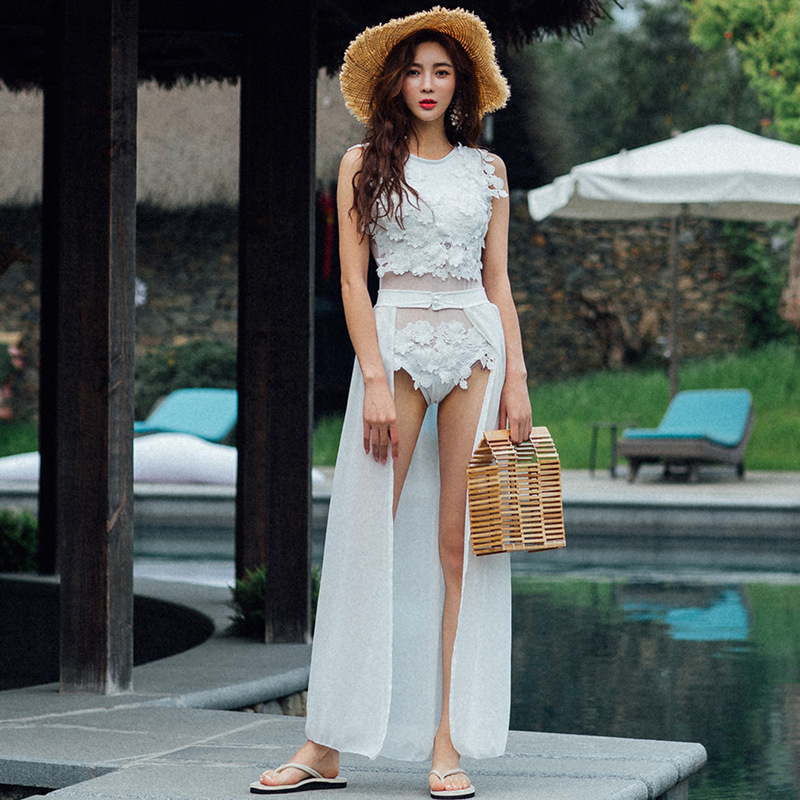 Female Swimwear One Piece Bath Suits Swimsuits For Women Summer 2019 Swimsuit Korea Handmade Applique Skirt Sexy Backless Solid