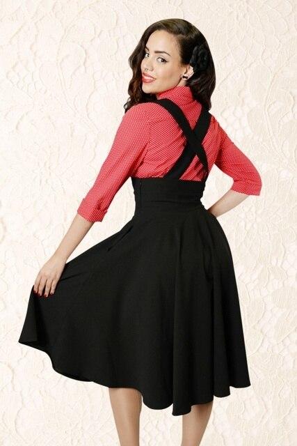 65d3e02a167c women vintage 50s black high waist rockabilly swing midi suspender skirt  plus size 4xl saia femininas