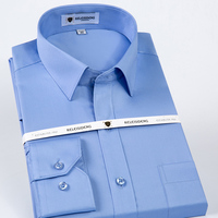 High Grade 100% Mercerized Cotton Square collar solid Men's dress shirts long sleeve slim fit anti wrinkle easy care