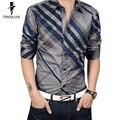 Троил Мужская Полосатой Рубашке Плед Бизнес Осень 2016 Новая Мода Повседневная Рубашка С Длинным Рукавом 4XL Горячие Продажа Бизнес Рубашки