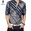 Troilus Mens Striped Shirt Plaid Business Autumn 2016 New Fashion Casual Shirt Long Sleeve 4XL Hot Sale Business Dress Shirts
