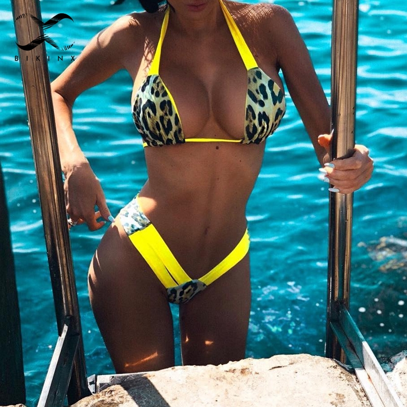 Leopard Brazilian Bikini 2020 Push Up Thong Swimsuit Female Halter High Cut Neon Swimwear Women Bathing Suit Micro Sexy Bikini