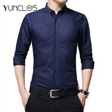 YUNCLOS Fashion Printed Men Shirts Blouses Black White Men's Blouses Long Sleeve Blousas Camisa Masculina 2018 Men Clothing