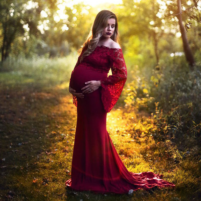 Shoulderless Maternity Dresses For Photo Shoot Pregnant Dress Pregnancy Dress Photography Lace Maxi Vestidos For Pregnant Women