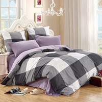 LILIYA 4 6Pieces High Quality Bedding Set Cozy Pillowcase Sheet With Elastic Duvet Cover M