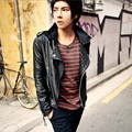 leather coat man Korean Slim leather jacket lapel tide popular white zipper rivet men leather jacket punk style