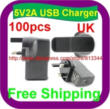 100 pcs Free Shipping 5V 2A UK PLUG USB Charger AC/DC Adapters with USB Charger for Tablet PC Q88 Ainol Venus Flytouch 3
