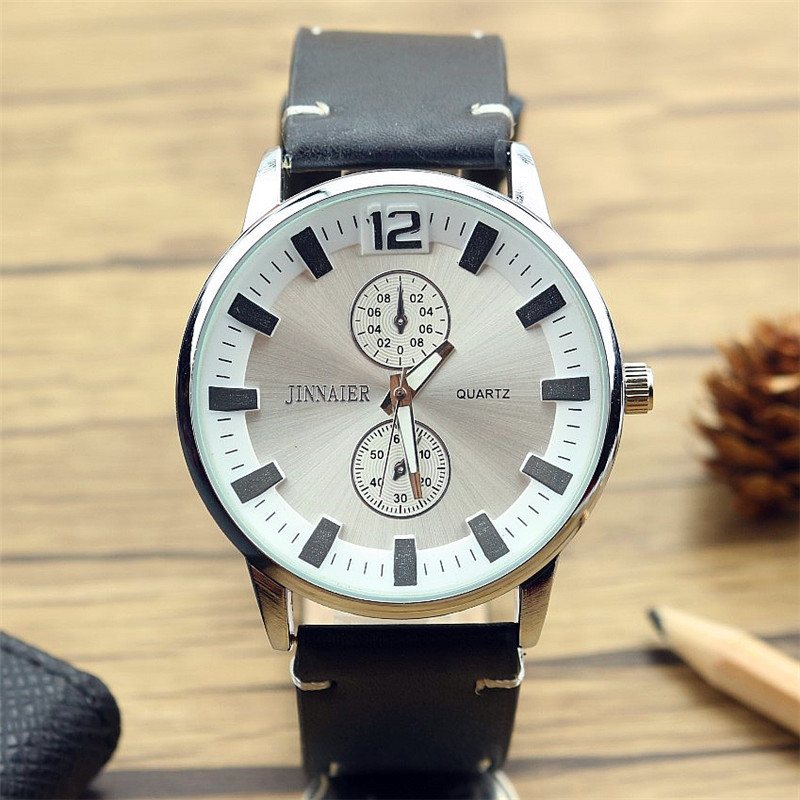 Quartz Watch For Men Top Brand Famous 3D Scale Dial Business Leather Watch Male Wristwatch Relogio Masculino Free Shipping
