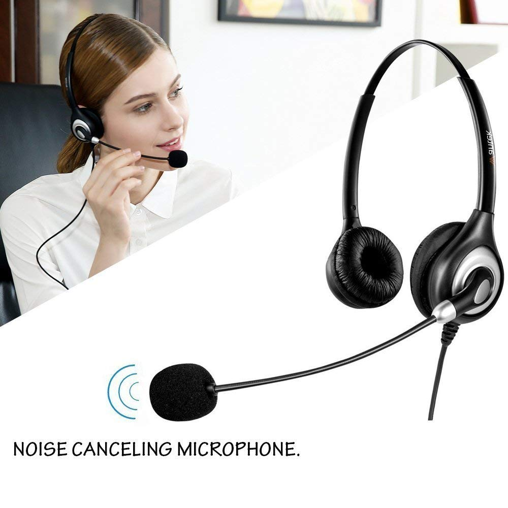 Wantek Corded USB Headsets Stereo Computer Headset mit Mikrofon Noise Cancelling, Call-Center, Kristall Klar Chat Ultra Komfort