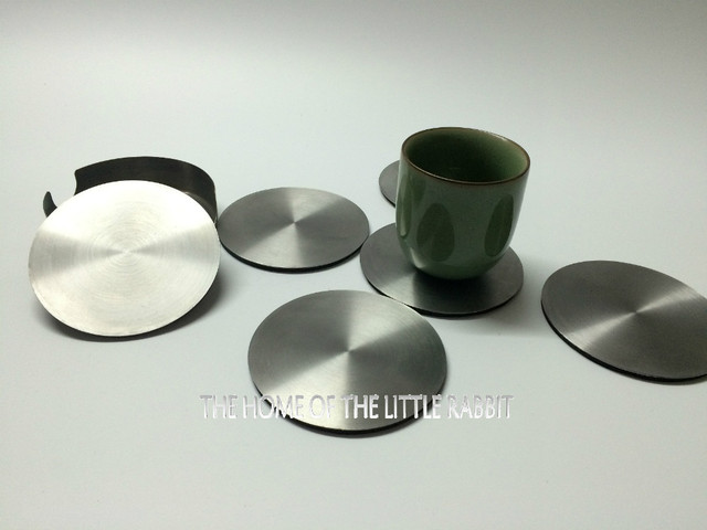 Stainless Steel Round Coasters Cup Mat Coffee Pad Holder Pot Bowls