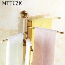 MTTUZK Toallero Antigüedades De Latón De 180 Grados de Rotación 2-4 Capas Actividades Barra de Toalla Toallero Accesorios de Baño