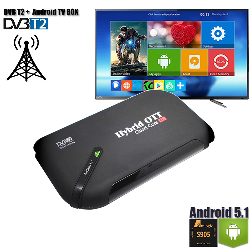 DVB-T2 Android TV BOX double Mode décodeur TV Tuner OS Aandroid 5.1 Amlogic S905 Quad Core DVB T2 Support 4 K affichage H.265