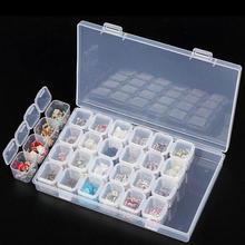28 slot Unghie Artistiche Scatola di Immagazzinaggio di Plastica Del Supporto Per anelli Dei Monili Del Diamante Del Rhinestone Pittura Organizer Trasparente di Caso di Esposizione