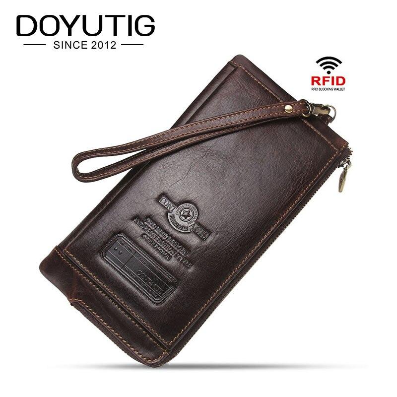 DOYUTIG luxe 100% Top véritable vache en cuir hommes portefeuille Anti magnétique RFID Standard porte-monnaie homme porte-carte nouveaux portefeuilles B040