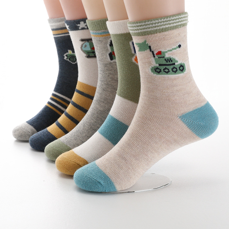 2019 New Spring Autumn Children Socks Hot Cotton Stripe Boys Socks 3-15 Year Kids Socks For Girls 5 Pairs / Lot