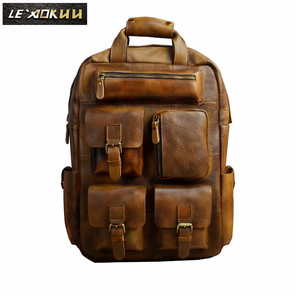 Men Original Leather Fashion Travel University College School Book Bag Designer Male Backpack Daypack Student Laptop Bag 1170lb original leather design university student school book bag male fashion knapsack daypack backpack travel 13 laptop bag men 9999