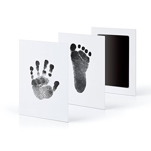 Baby Handprint Footprint Photo Frame Kit With Hand Makers An Included Clean-Touch Ink Pad Hand & Footprint Makers Baby Souvenirs