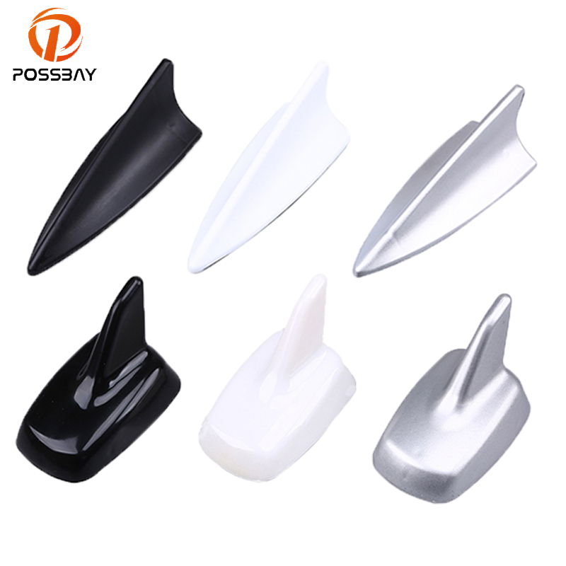 POSSBAY Black/White/Silver Car Shark Fin Antenna Auto Aerials Roof Antennas Amplifier For Skoda Hyundai VW Kia Fiat Aerial