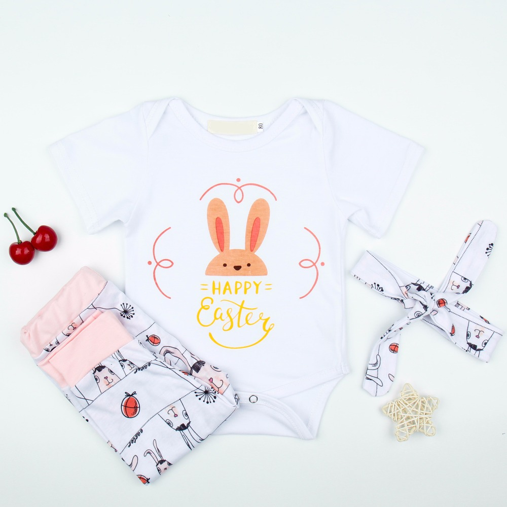 Baby Girl Casual Clothes Sets Happy Easter  Letter Romper+Cute Rabbit Print Pant +Headband 3Pcs Set 2018 Newborn Clothing Set 3pcs newborn baby girl clothes set long sleeve letter print cotton romper bodysuit floral long pant headband outfit bebek giyim