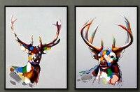 Масляная картинная галерея два оленя картины поставки 12943