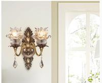 Classic European 100 Copper Wall Lamp Single Double Head Hallway Light Bedroom Brass Glass Wall Sconce