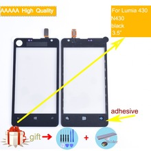 For Nokia Microsoft Lumia 430 N430 Touch Screen Touch Panel Sensor Digitizer Front Glass Outer Lens Touchscreen NO LCD black new 4 inch digitizer touch screen for microsoft lumia 435 touchscreen panel replacement parts for lumia 532 free shipping