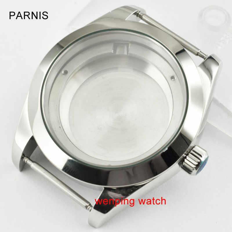 Parnis 40mm acero zafiro reloj caja fit Miyota 8205/8215, ETA 2836, DG2813/3804, p707
