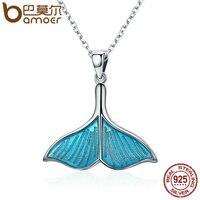 BAMOER 925 Sterling Silver Ocean Sea Blue Enamel Fish Whale S Tail Pendant Necklaces Women Luxury