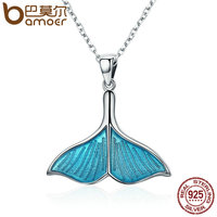 BAMOER 925 Sterling Silver Ocean Sea Blue Enamel Fish Whale S Tail Pendant Necklaces Women Luxury