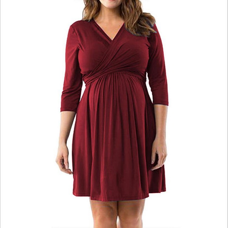 Tonlinker spring summer Dresses Maternity Clothing Mummy Clothes v neck Maternity Dresses Clothes 4 colorFashion Pregnancy Dress in Dresses from Women 39 s Clothing