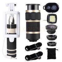 8X Telescopic Telephoto Lenses Wide Angle Macro Fish Eye Lentes Selfie Lamp Cell Phone Lens For