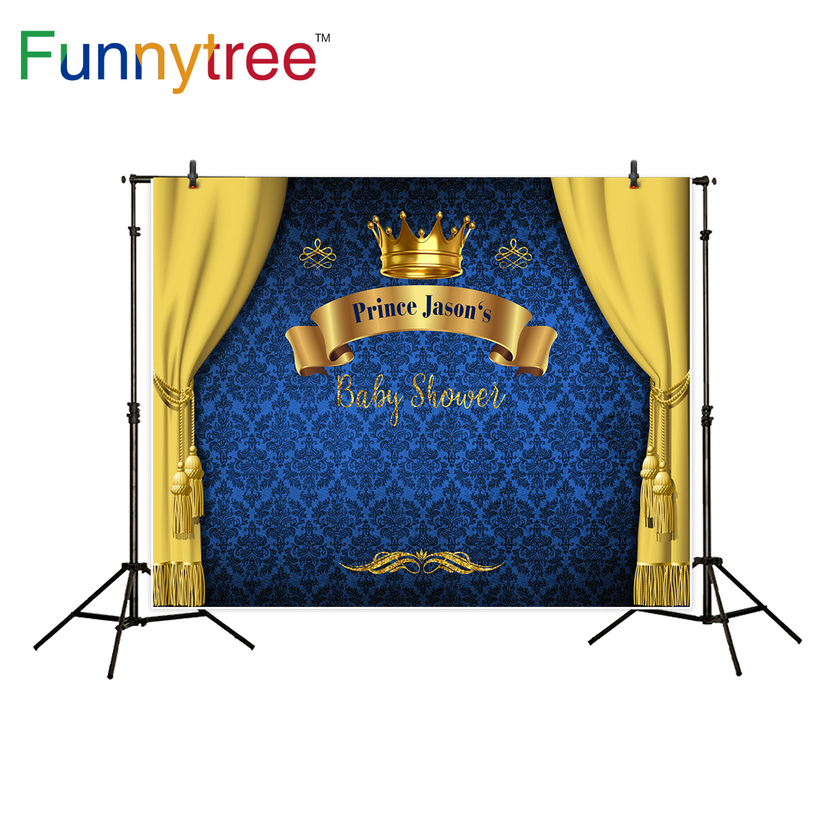 Funnytree prince photography background baby shower royal blue crown damask birthday backdrop photocall photo studio printed funnytree prince photography background baby shower royal blue crown damask birthday backdrop photocall photo studio printed