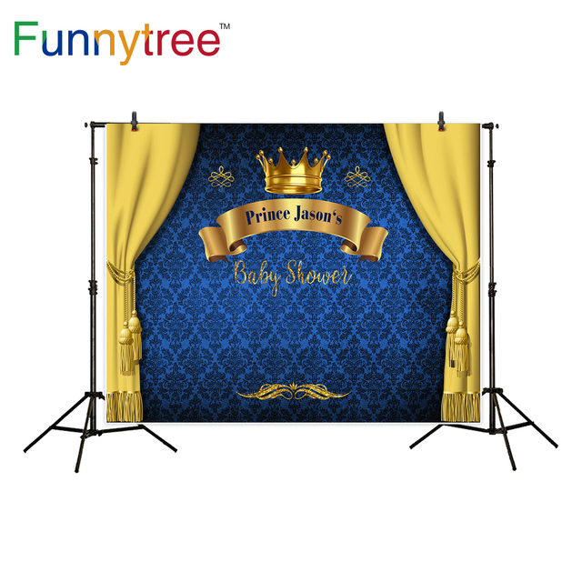 Funnytree prince photography background baby shower royal blue crown damask birthday backdrop photocall photo studio printed