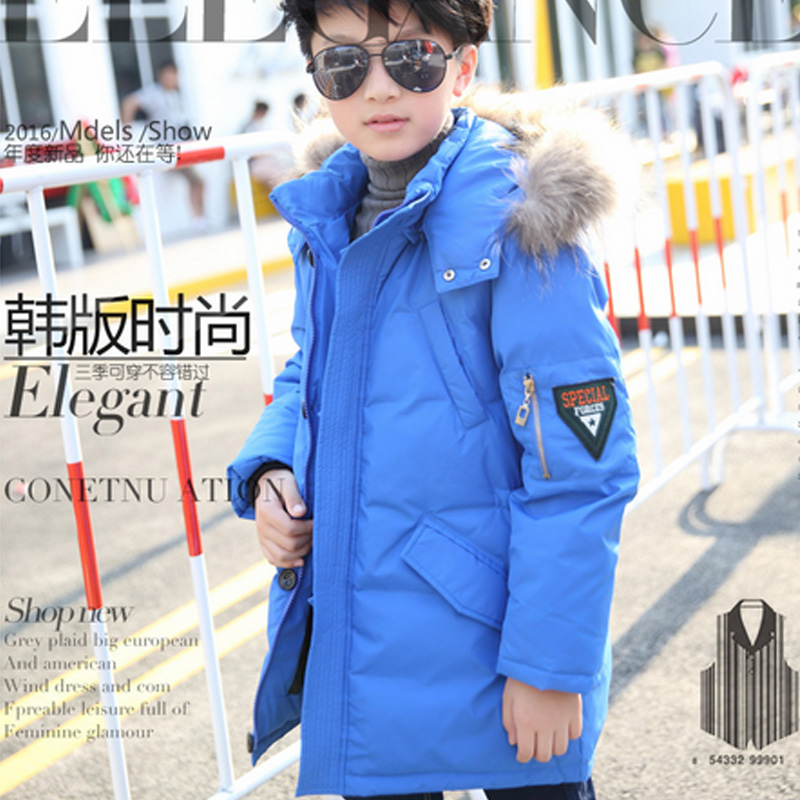 -40 Winter New Childrens Down Jacket Long Thick Boy Winter Coat Duck Down Kids Winter Jackets for Boy Outerwear Fur Collar