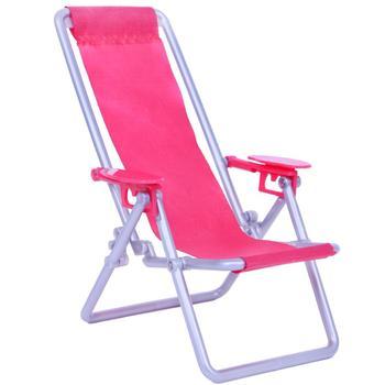 1: 6 Escala Móveis de Casa de Bonecas Nadar Acessórios Dobráveis de Espreguiçadeira Para Boneca Barbie Para Blythe House Lounge Rosa Rosa Cadeira de Praia 1