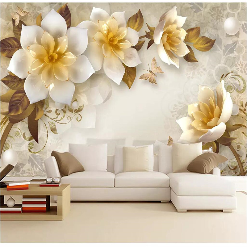 Us 15 05 3d Wallpaper Custom Modern Wall Murals Background White Lotus Flower Bedroom Wallpapers For Living Room Wall Papers Home Decor In
