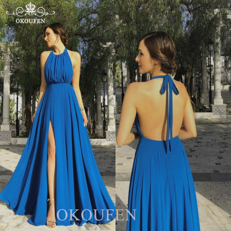 Flowing Blue Chiffon Long   Bridesmaid     Dresses   Side Split Backless 2019 Halter A Line Cheap Party   Dress   Formal For Women