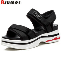 ASUMER 2018 fashion summer new shoes woman sneaker style casual comfortable flat platform sandals women suede leather shoes