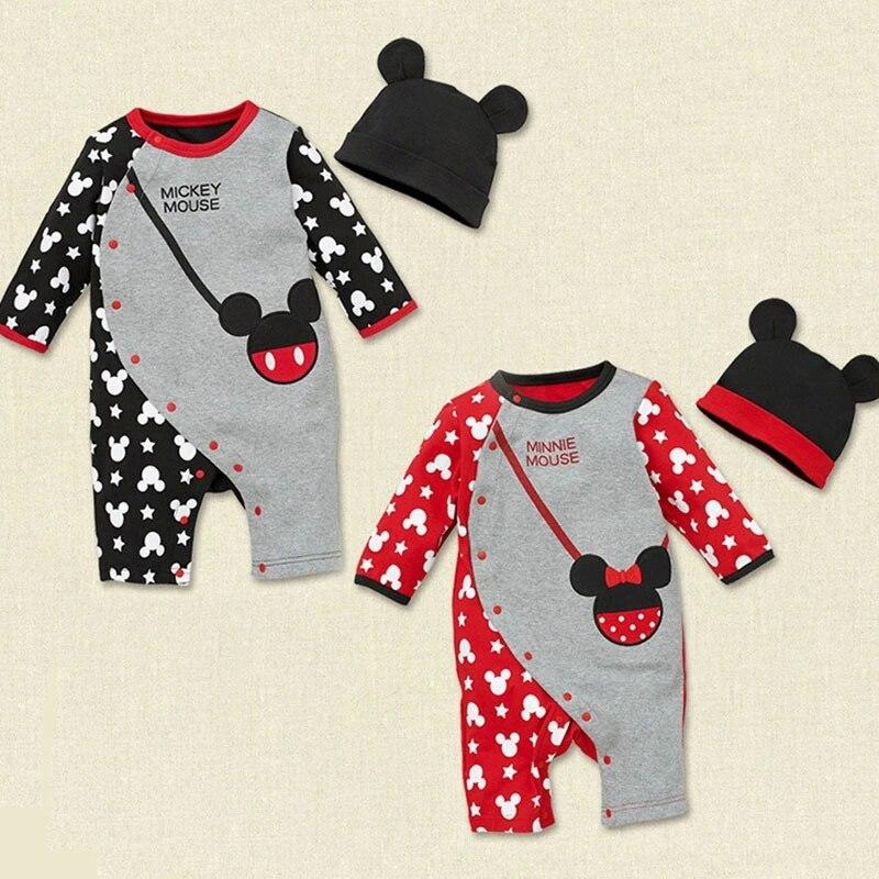 Detail nyfødt baby dreng pige tøj søde rompere 1 stk baby unisex romper baby drenge piger langærmet med hat HB020