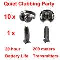 Беспроводные складные наушники Silent Disco complete system black  тихий комплект для клубов и вечеринок (10 наушников + 1 передатчик)