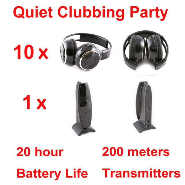 Silent Disco complete system black folding wireless headphones – Quiet Clubbing Party Bundle (10 Headphones + 1 Transmitter)