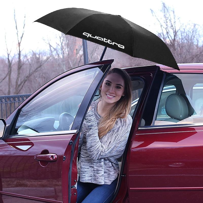 Automatic Fold Umbrella Quattro Logo Emblem For Audi Quattro Umbrella  For Audi A3 A4 B6 B8 B7 A6 C6 C5 A7 A8 A5 Q3S line RS S3 бампер audi a6 c5
