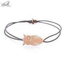Badu String Bracelet Elastic Rope Women Gold Owl Pendant Hollowing Animal Bracelets Charming Wrist Simple Fashion Wholesale