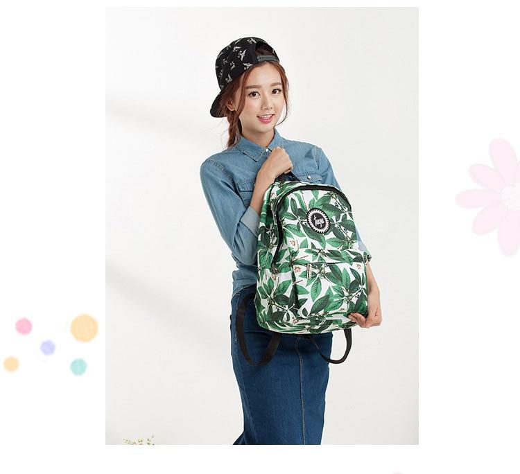 New Preppy Style Women Leaf Flower Print Backpack Fashion Green Portbale Oxford Bagpack School Girls